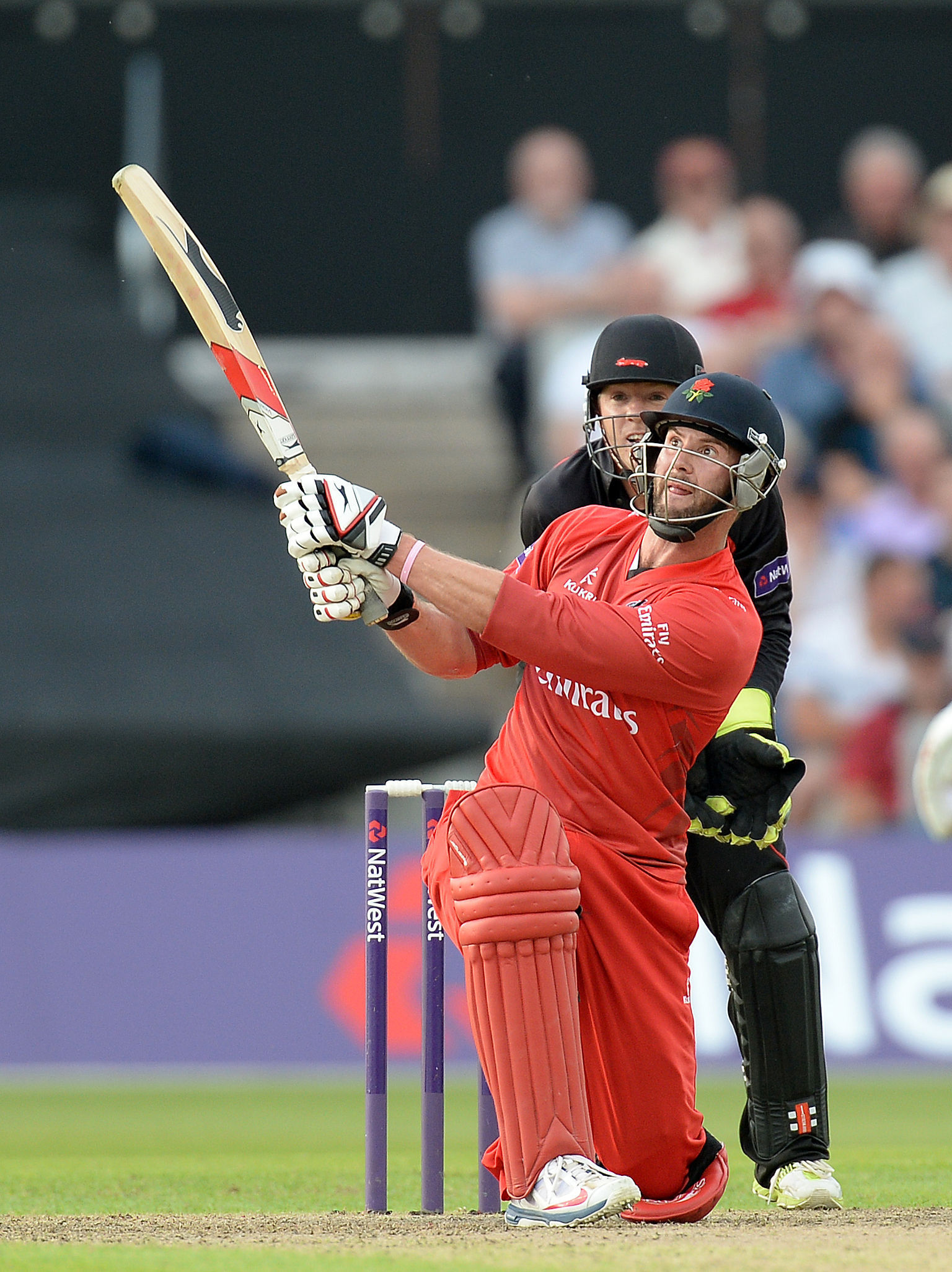 RETURN: Tom Smith, hitting a six against Leicestershire Foxes in the 2014 T20 tournament, is back fit for Lancashire this season