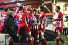 DELIGHT: Accrington Stanley celebrate Adam Buxton's opener in their 3-1 midweek win over Hartlepool United
