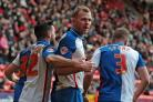 Jordan Rhodes' celebrates his 85th and final goal for Rovers in their 1-1 draw at Charlton last month