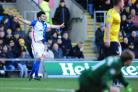 Tony Watt celebrates after marking his Rovers bow with a goal against Oxford on Saturday