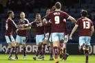 Burnley celebrate Andre Gray's goal