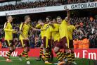 EXCITING TIMES: Burnley celebrate at Arsenal