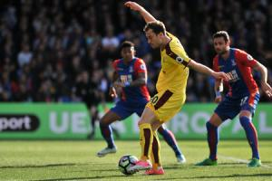 CRUCIAL GOAL: Ashley Barnes scores Burnley's first in the 2-0 win at Crystal Palace on April 29