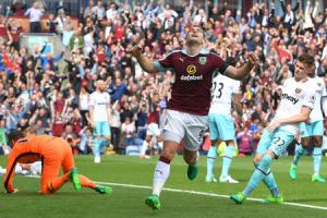 IN THE GOALS: Sam Vokes celebrates his 12th goal of the season against West Ham
