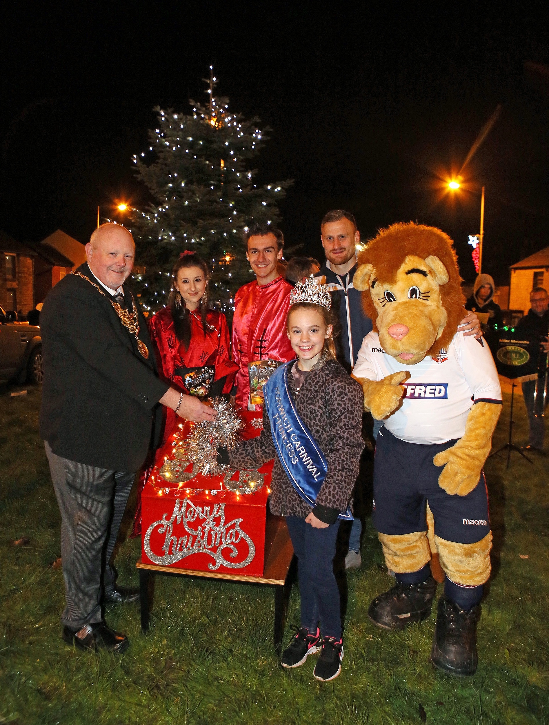 FESTIVE: Cllr Steve Rock with guests at the Christmas lights switch-on in Horwich Picture Gary Taylor