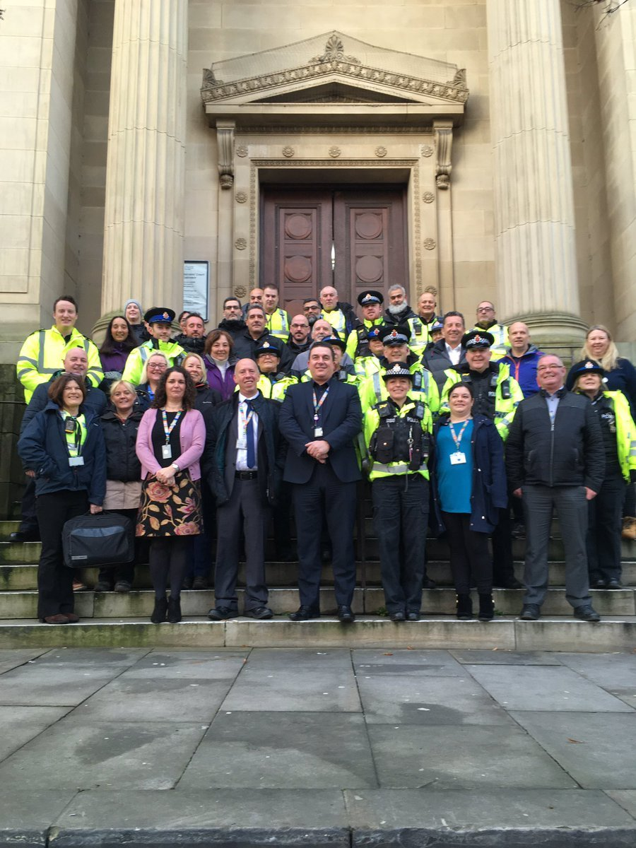 ACTION: Officers gather to carry out the day of action