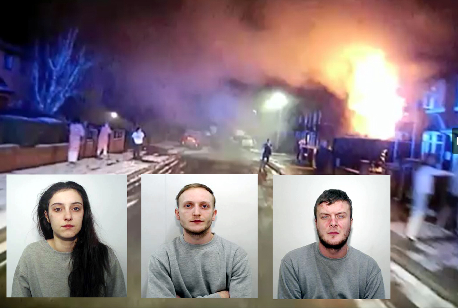 Courtney Brierley, Zak Bolland and David Worrall with an image of the fire taken from a video from Greater Manchester Fire and Rescue Service
