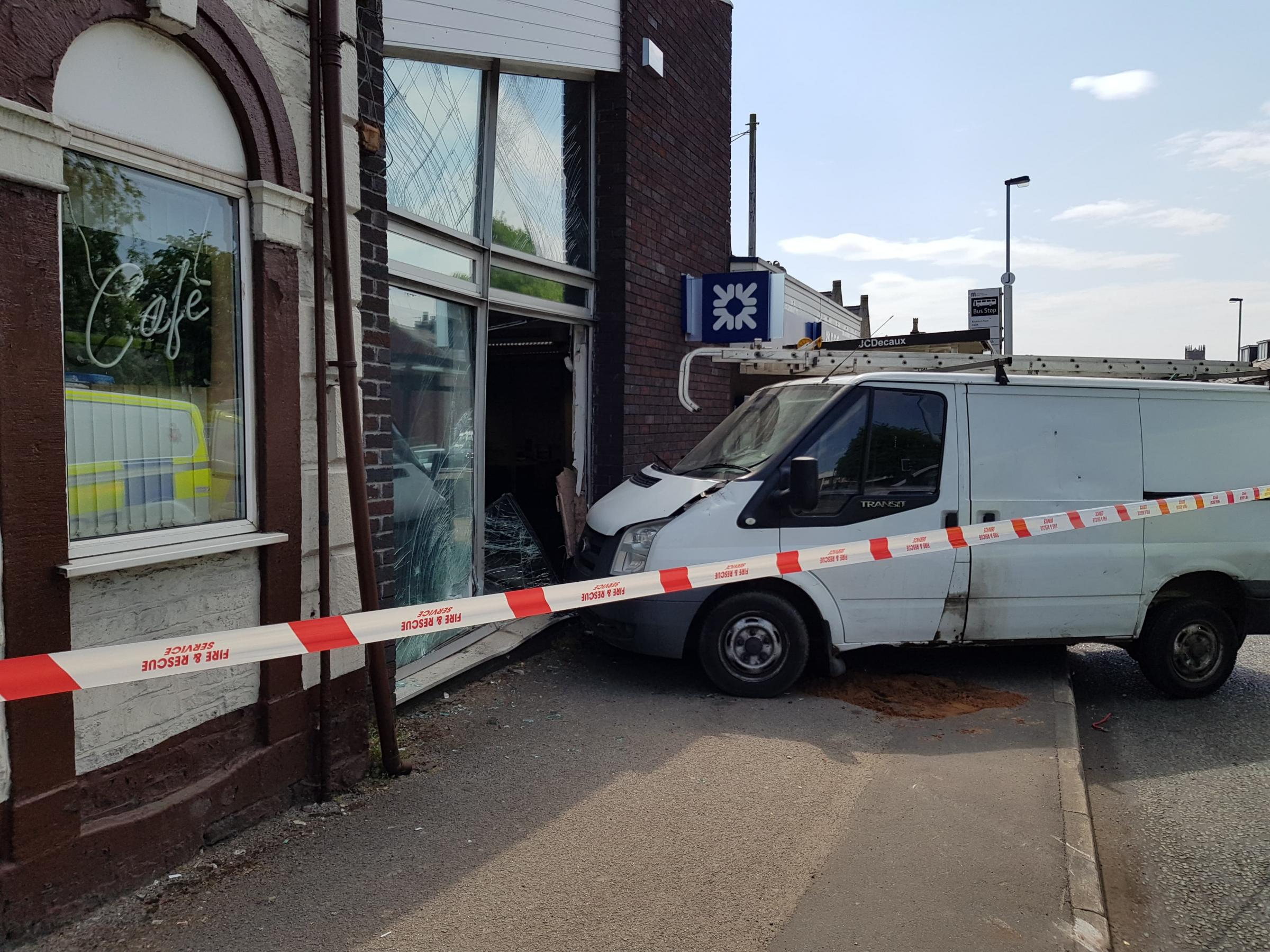 A white Ford Transit van crashed into the Royal Bank of Scotland branch in Blackburn Road, Astley Bridge