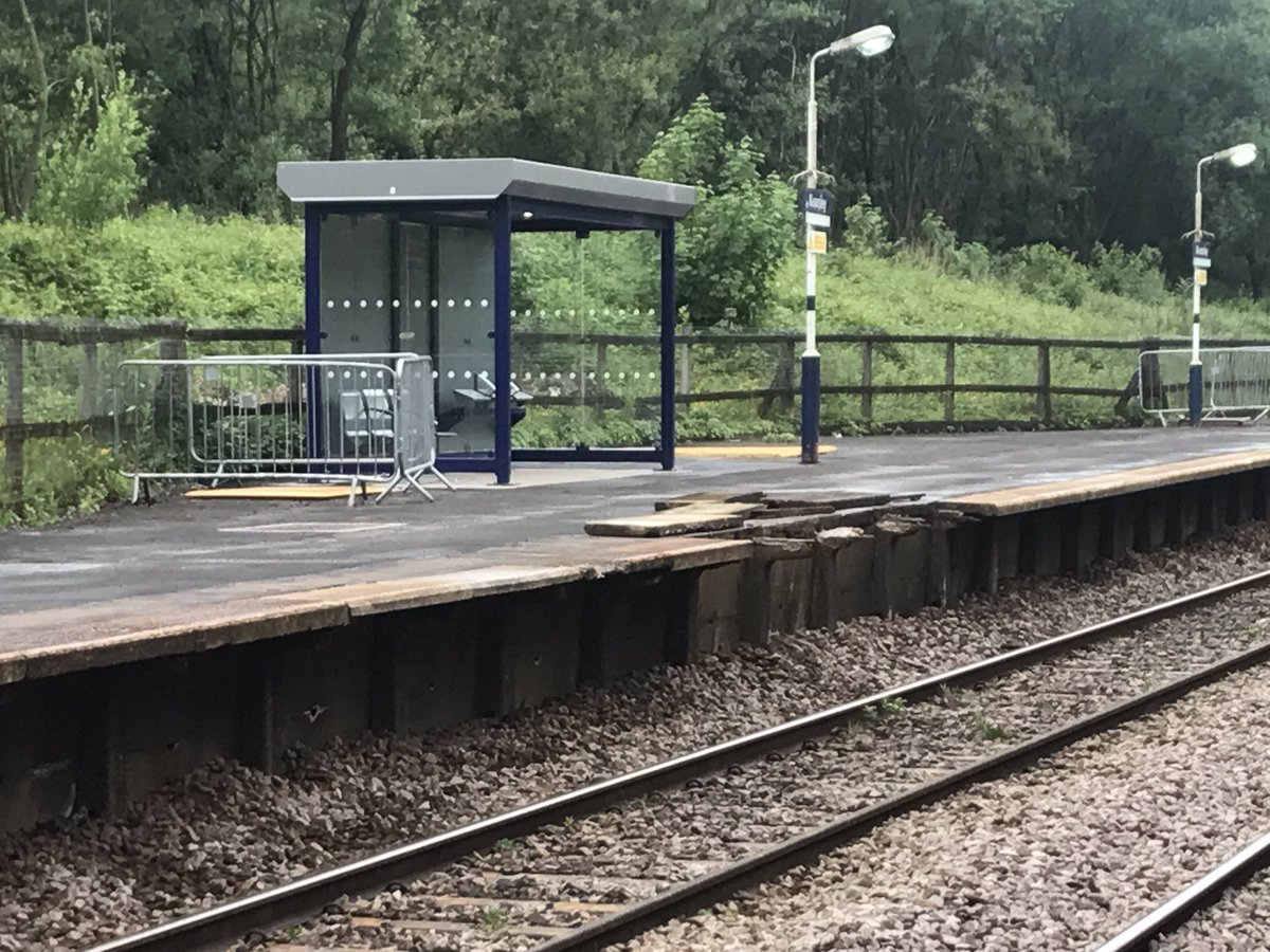 The damage to the platform at Kearsley station