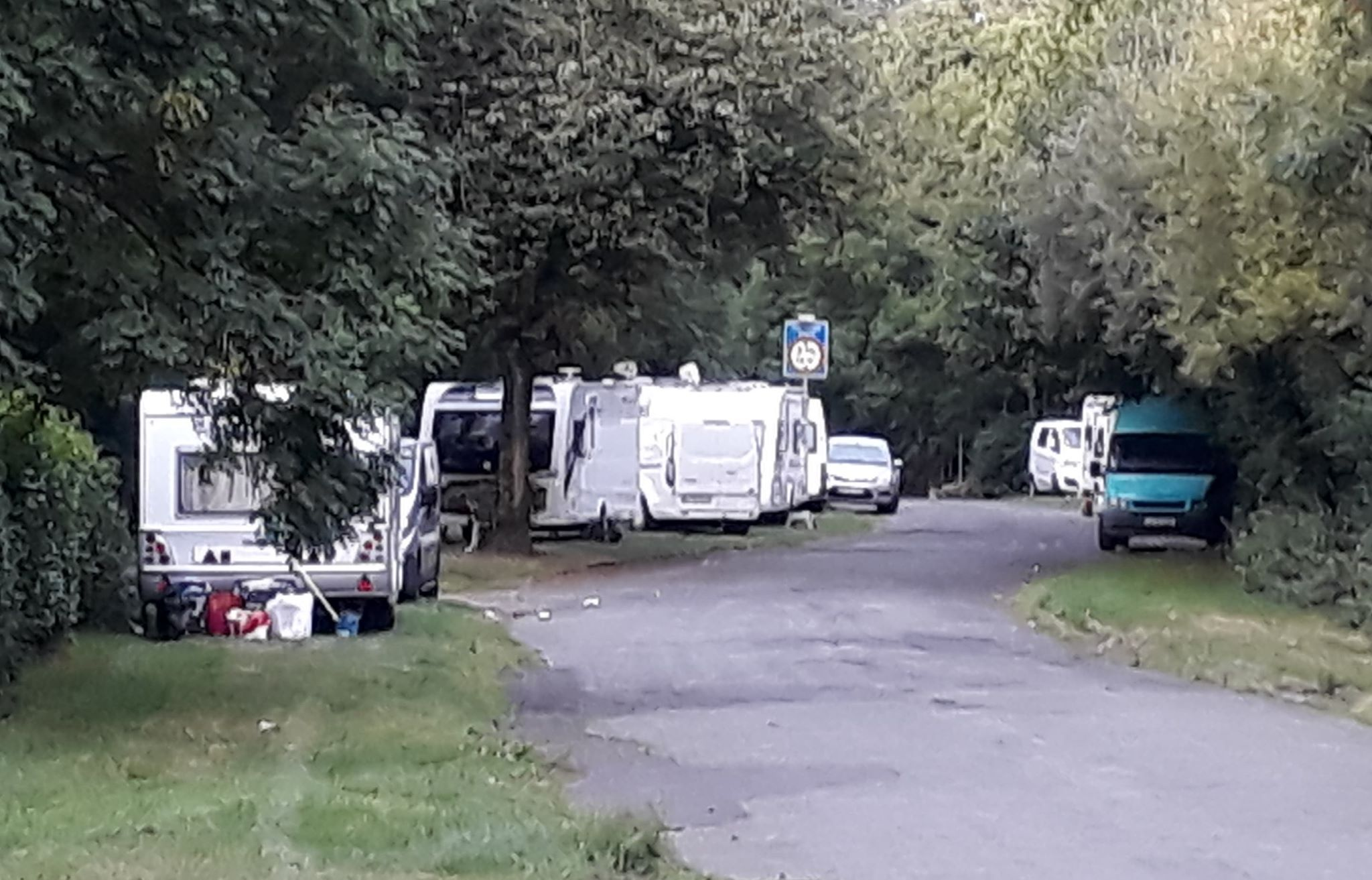 TRAVELLERS: Caravans on the verges near Farnworth Cemetery