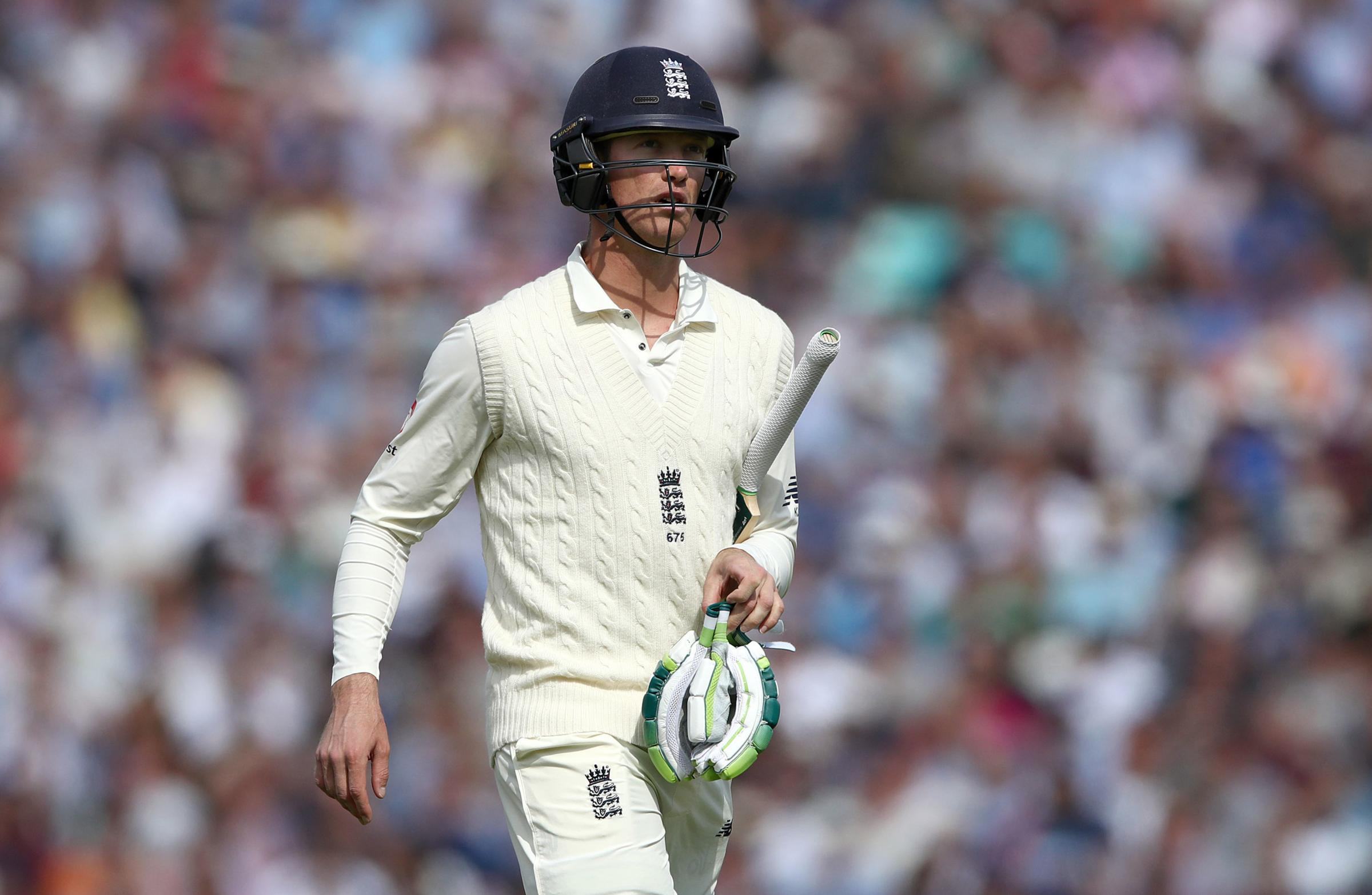 England's Keaton Jennings leaves the field after being caught by India's Lokesh Rahul during the test match at The Kia Oval, London. PRESS ASSOCIATION Photo. Picture date: Friday September 7, 2018. See PA story CRICKET England. Photo