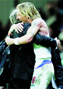 LOYALTY: Robbie Savage and Mark Hughes