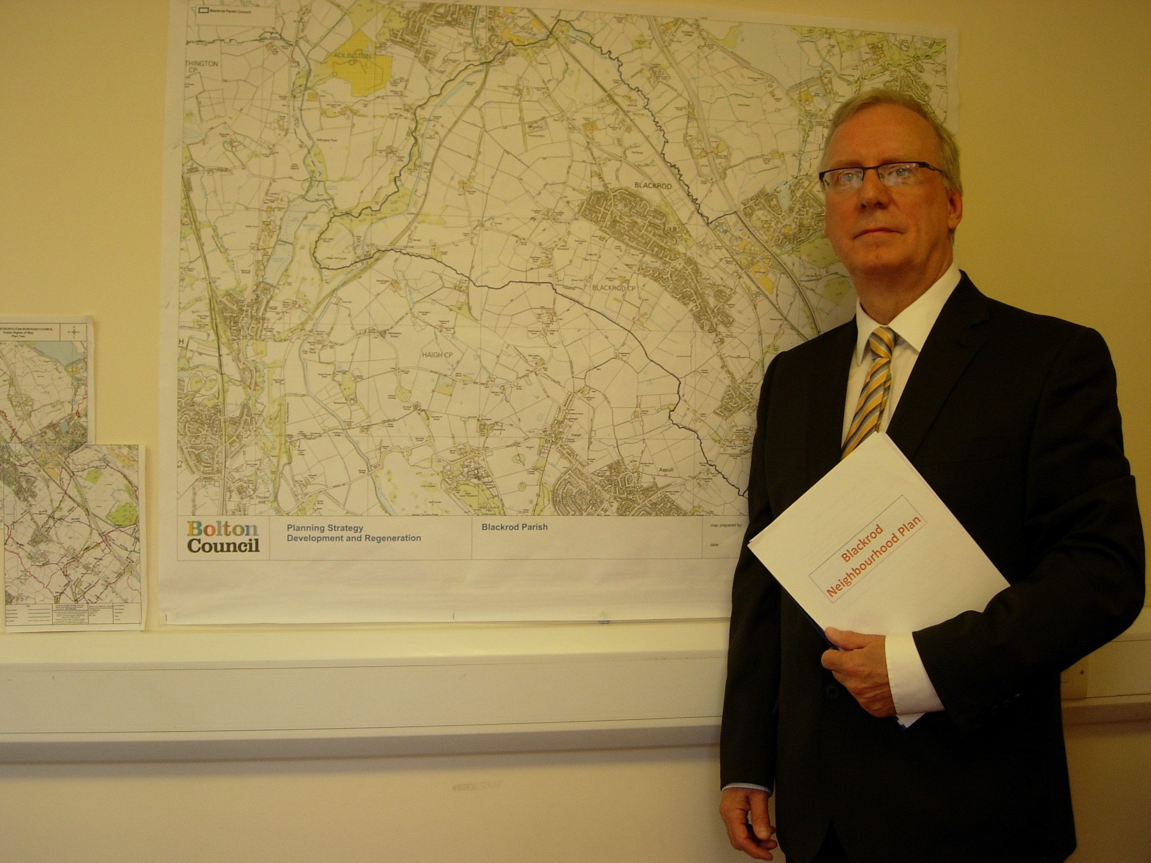 CHAIR: Town councillor Alan Bury leads the group behind the Blackrod Neighbourhood Plan