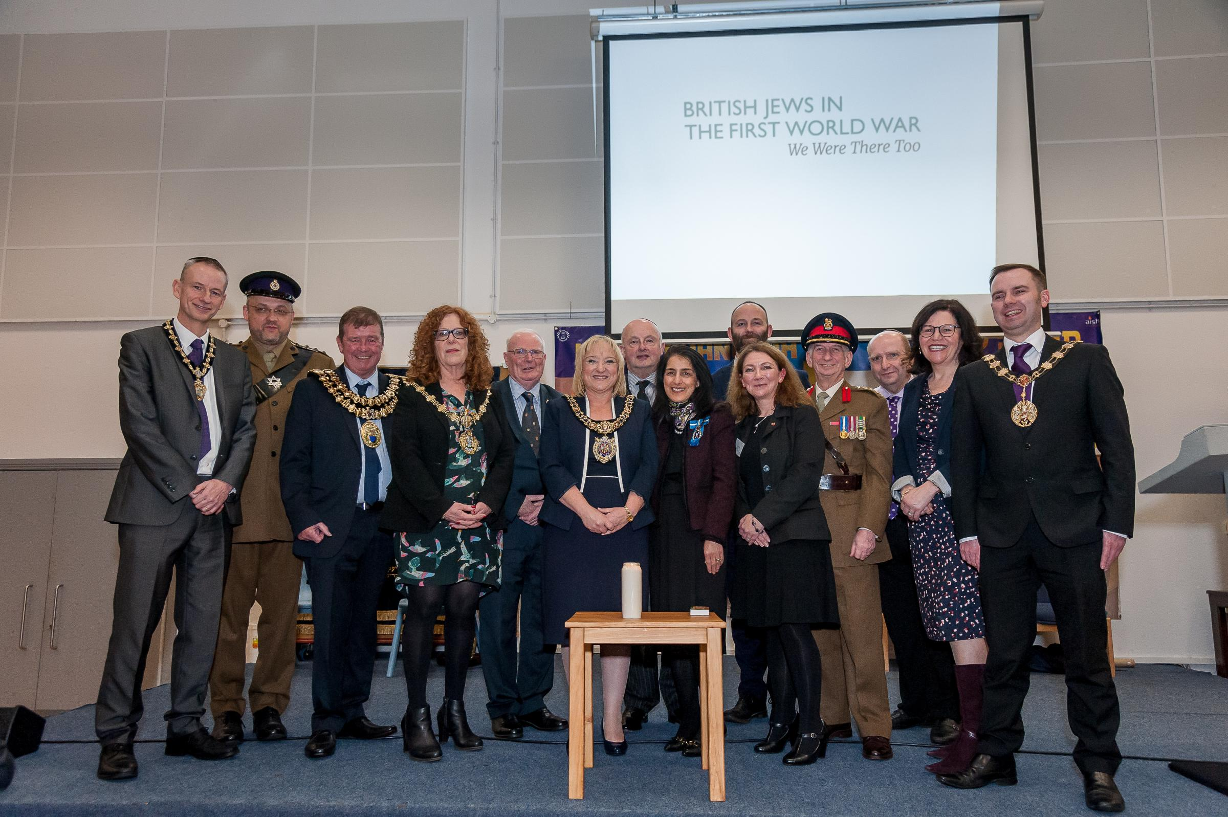 The Mayor of Bury, Cllr Jane Black, and other dignitaries at the We Were There Too launched in Manchester. Photo: Mike Poloway