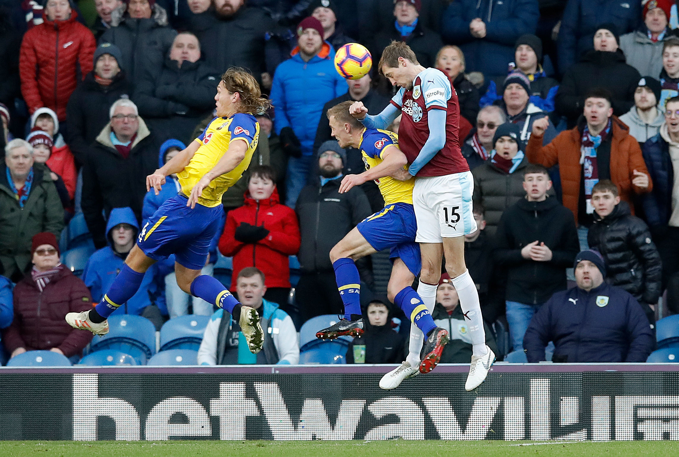 Burnley's Peter Crouch (right) directs a header on goal during the Premier League match at Turf Moor, Burnley. PRESS ASSOCIATION Photo. Picture date: Saturday February 2, 2019. See PA story SOCCER Burnley. Photo credit should read: Martin Rickett/PA