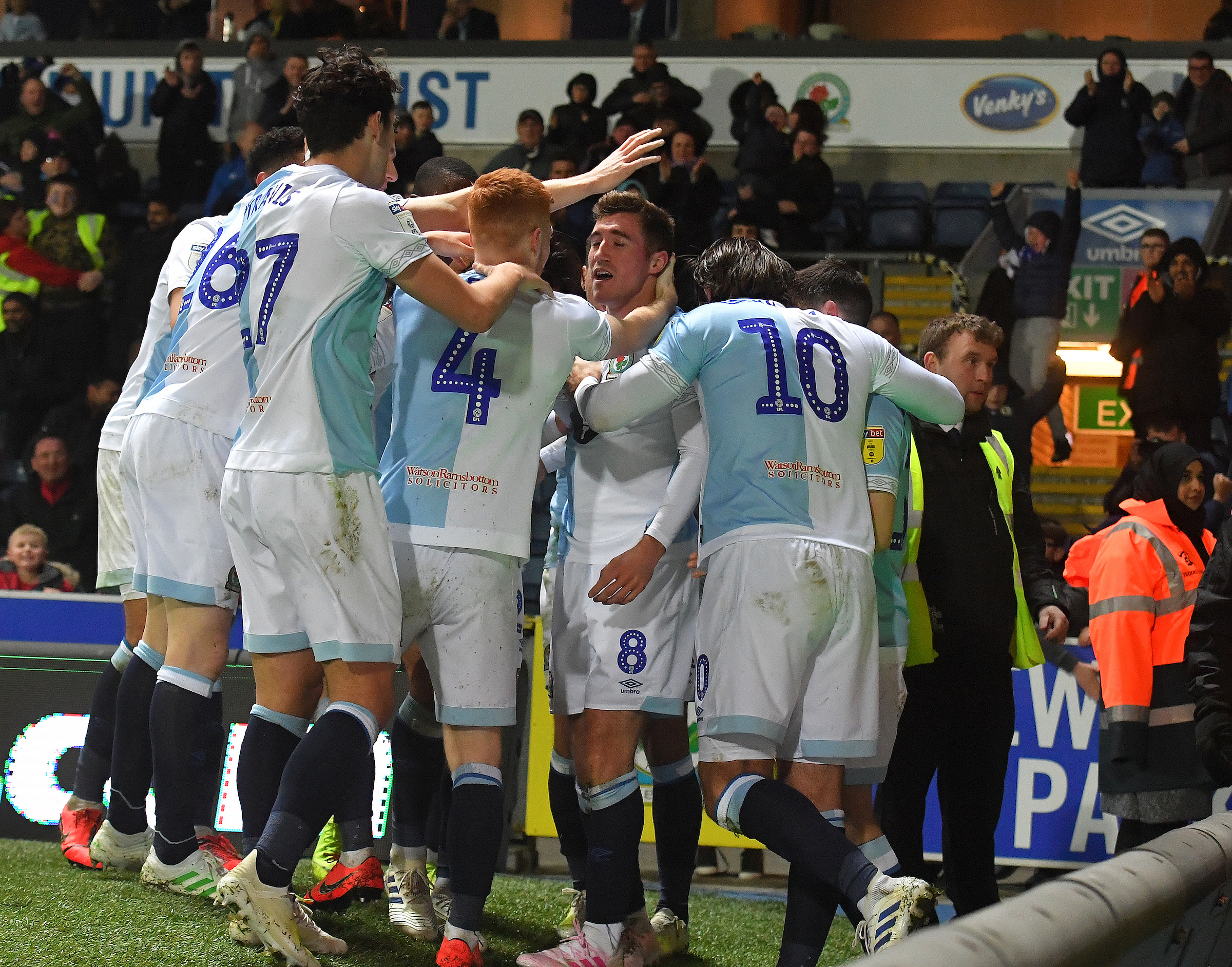 Rovers celebrate Joe Rothwell's opening goal against Derby County