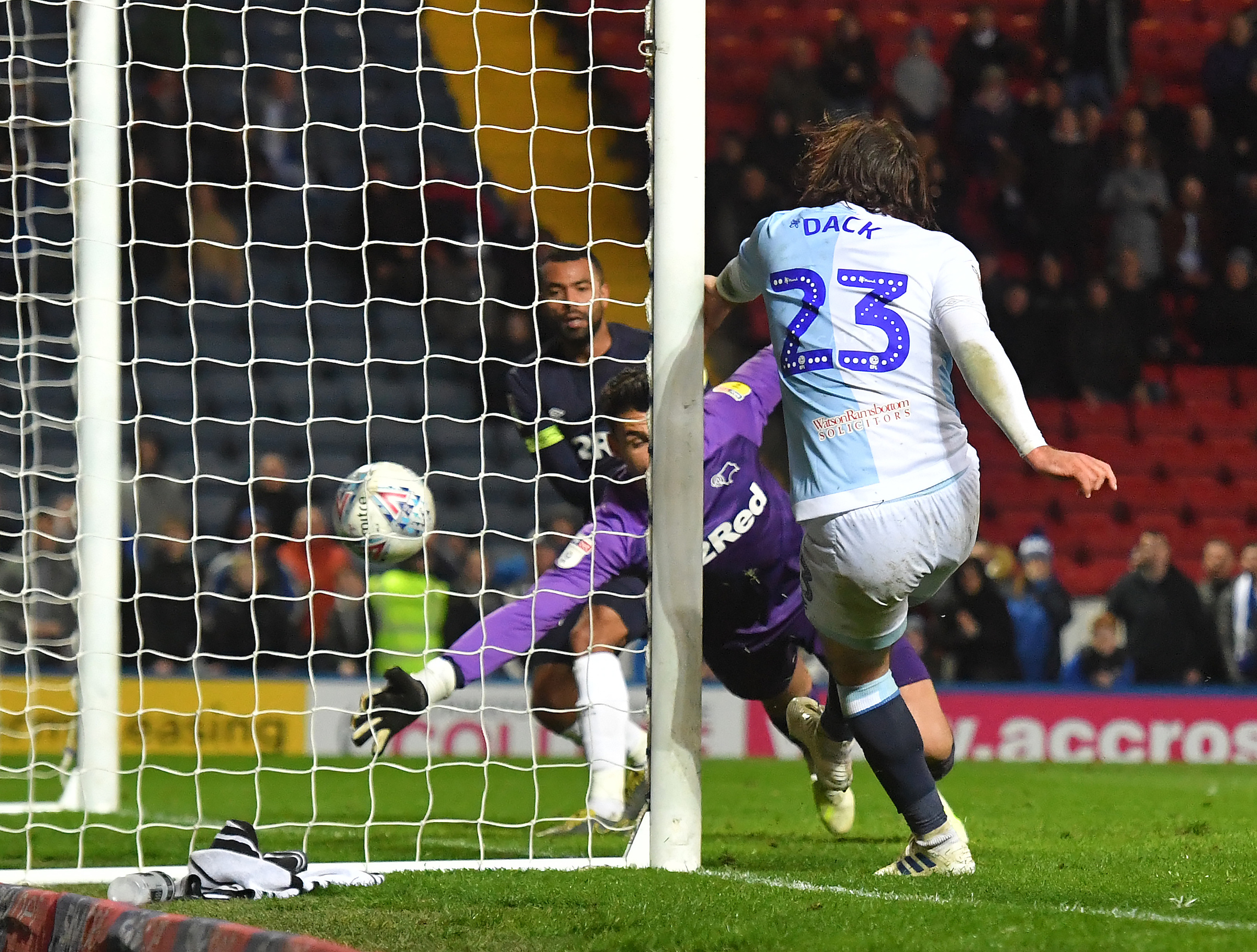 Bradley Dack scored Rovers' second goal in the win over Derby