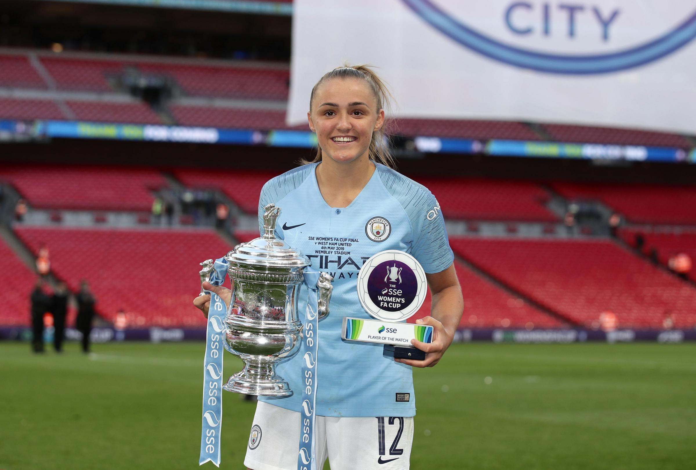 Georgia Stanway celebrates her FA Cup success with Manchester City