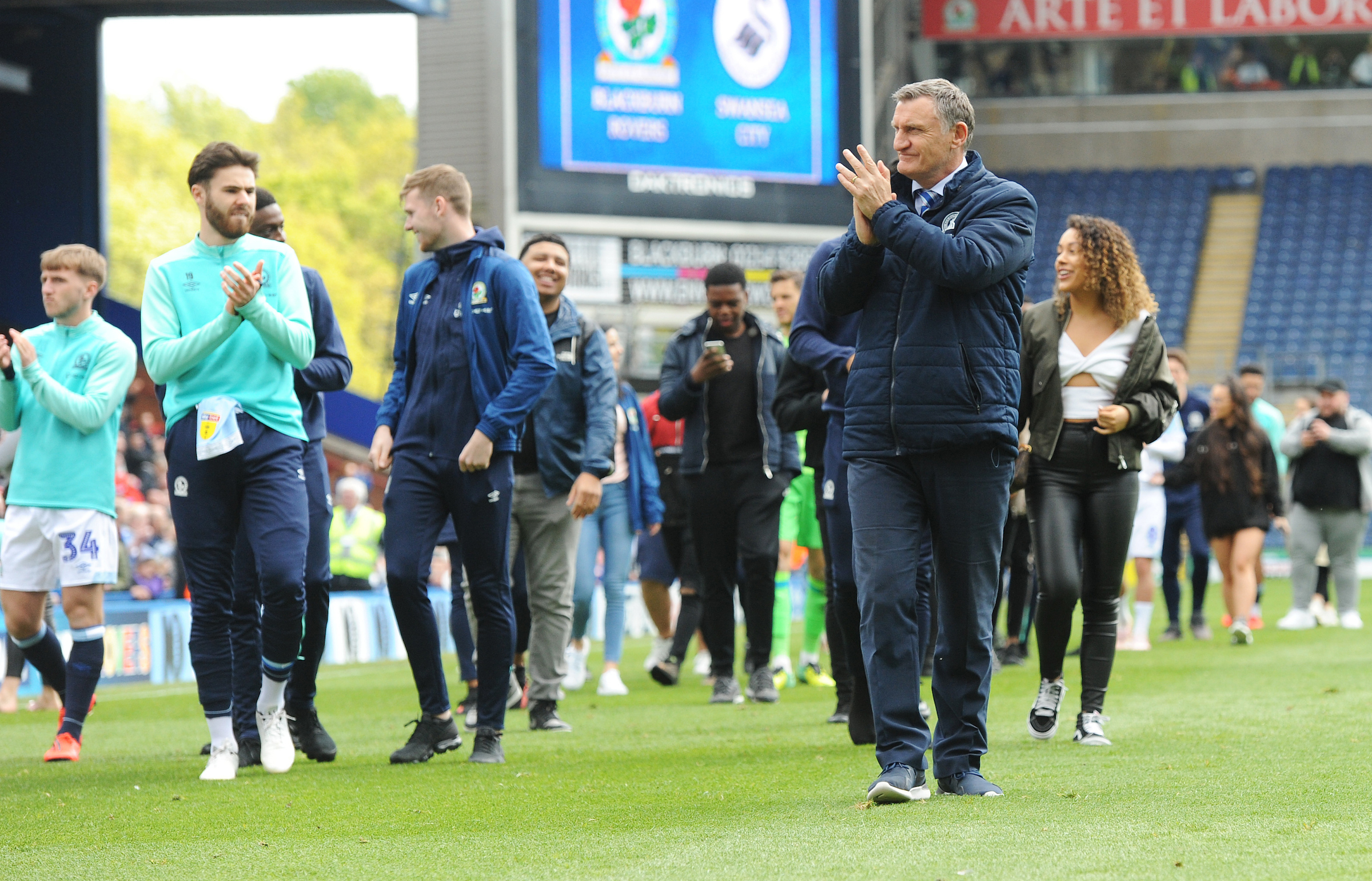 Tony Mowbray led the lap of honour after the final game against Swansea