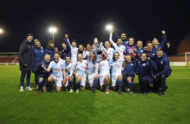 Rovers Ladies lift the Challenge Cup. Pic: KIPAX