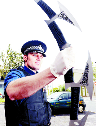 STAR TREK SWORD: Nathan Calton with the weapon seized in Accrington