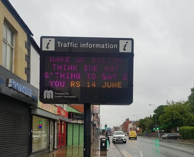 GIG: A TfGM traffic sign in Market Street, Farnworth, warning people about the upcoming Rod Stewart concert