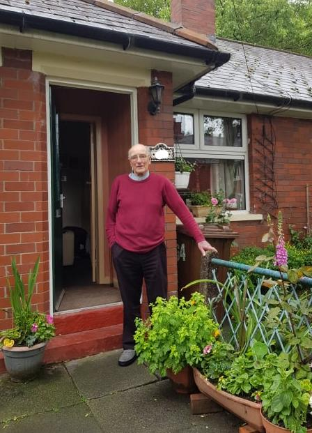 Brian Grimshaw  outside his home in Dudley Avenue, Whitefield